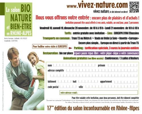 Le salon bio nature invitation gratuite faire vivre for Salon vivez nature lyon 2017