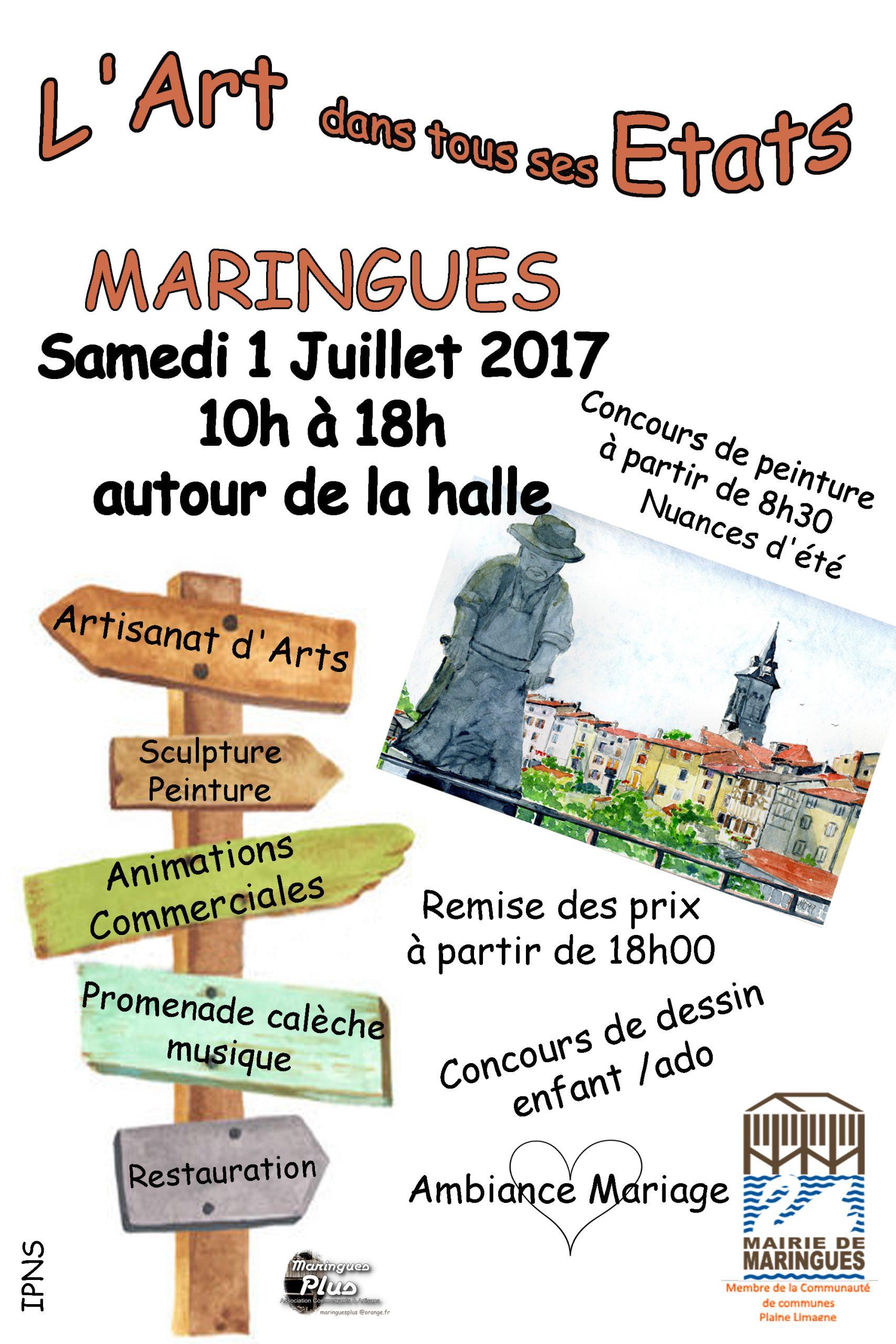 L'Art dans tous ses États samedi 1 juillet 2017 à Maringues