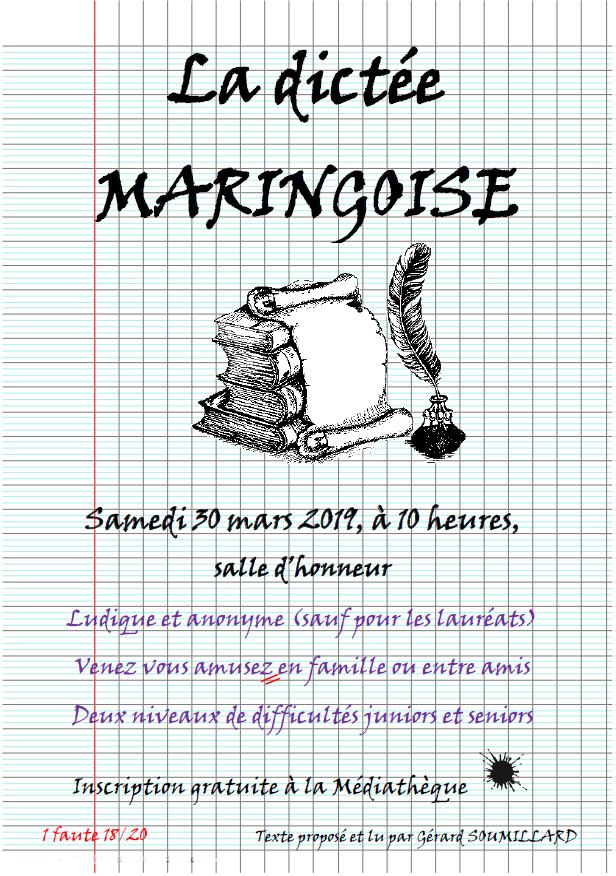 La dictée Maringoise c'est le 30 mars